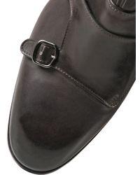 Santoni Gray Leather Monk Strap Ankle Boots for men