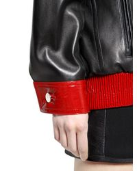 Anthony Vaccarello Black Patent & Nappa Leather Jacket