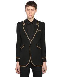 メンズ Saint Laurent ウール シングルブレストジャケット Black
