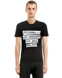 Love Moschino Black Psychobilly Print Stretch Jersey T-shirt for men