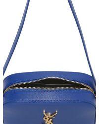 Saint Laurent - Blue Monogram Grained Leather Bag - Lyst