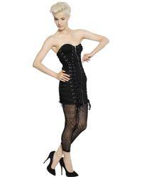 Jean Paul Gaultier   Black Lace-up Cotton Lace Bustier Dress   Lyst