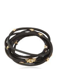 Tomasz Donocik - Yellow Gold Stars & Leather Wrap Bracelet - Lyst
