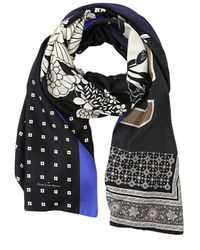 Pierre Louis Mascia | Black Layered Printed Silk & Cotton Scarf | Lyst