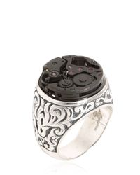 Cantini Mc Firenze - Black Engraved Sterling Silver Steampunk Ring - Lyst