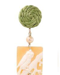 Anna E Alex - Green Owl Cameo Earrings - Lyst