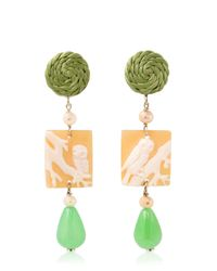 Anna E Alex | Green Owl Cameo Earrings | Lyst