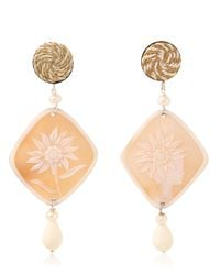 Anna E Alex | Natural Gardenia Cameo Earrings | Lyst