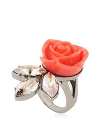 Mawi | Pink Rose & Crystal Leaf Ring | Lyst