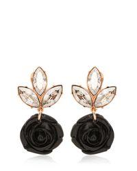 Mawi - Black Rose & Crystal Drop Earrings - Lyst