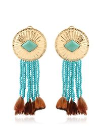 Aurelie Bidermann Blue Feather-Detail Turquoise Earrings