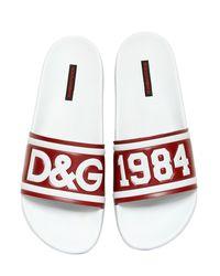 Dolce & Gabbana Multicolor D&g Rubberized Leather Slide Sandals for men