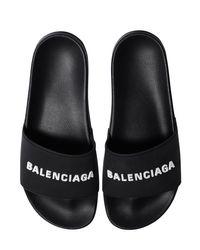 メンズ Balenciaga Poolラバースライドサンダル Black