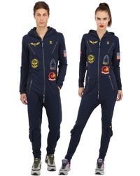 OnePiece | Blue Aviator Cotton French Terry Jumpsuit | Lyst