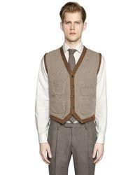 Boglioli Brown Wool & Silk Blend Sweater Vest for men
