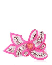Shourouk | Pink Bow Line Rose Pin | Lyst