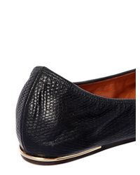 Lanvin | Black 10mm Lizard Embossed Leather Ballerinas | Lyst
