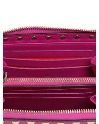 Valentino Pink Rockstud Leather Zip Around Wallet