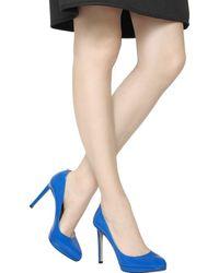 Valentino Blue 120mm Plain Patent Leather Pumps