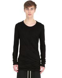 Rick Owens | Black Double Cotton Jersey Long Sleeve T-shirt for Men | Lyst