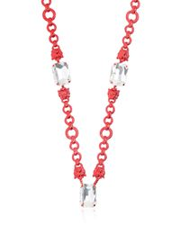 Halaby - Red Sautoire Leo Necklace - Lyst