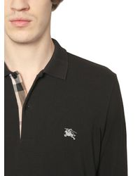 Burberry Brit - Black Logo Embroidered Cotton Piqué Polo for Men - Lyst