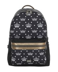 Dolce & Gabbana | Black Printed Nylon And Leather Backpack | Lyst