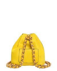 Moschino Yellow Mini Ponyskin Backpack