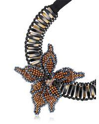 Night Market - Black Flower Bronze Necklace - Lyst