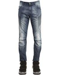 Balmain   Blue 16.5cm Biker Bleached Stretch Jeans for Men   Lyst