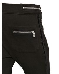 Balmain - Black Cotton Jogging Pants With Velvet Piping - Lyst