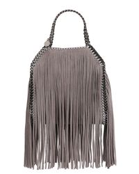 Stella McCartney | Gray Mini 3chain Falabella Fringed Faux Deer | Lyst