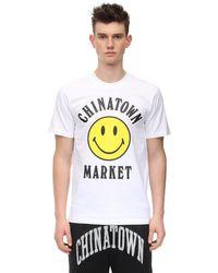 Chinatown Market T-shirt Aus Baumwolljersey Mit Druck in White für Herren