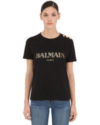 T-shirt En Jersey De Coton Logo Imprimé Balmain en coloris Black