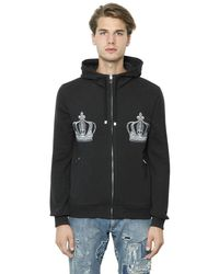 Dolce & Gabbana | Gray Hooded Embroidered Cotton Sweatshirt for Men | Lyst