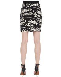 Lanvin - Black Logo Patterned Stretch Jacquard Skirt - Lyst