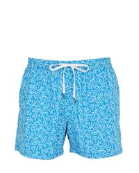 Danward Blue Printed Breathable Nylon Swimming Shorts for men