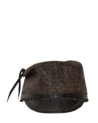 Move   Brown Leather Visor Straw Military Hat for Men   Lyst