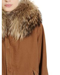 Mr & Mrs Italy - Brown Cotton Canvas Parka With Murmansky Fur - Lyst