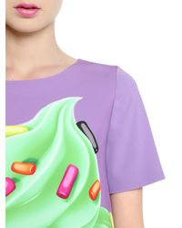 Boutique Moschino | Blue Cupcake Printed Techno Cady Dress | Lyst