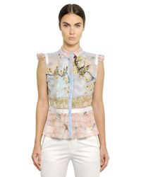 Piccione.piccione | Blue Printed Pleated Silk Chiffon Shirt | Lyst