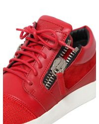 Giuseppe Zanotti | Red 20mm Leather & Suede Sneakers | Lyst