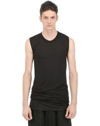 Rick Owens Black Silk & Viscose Jersey Sleeveless T-shirt for men