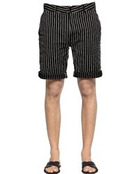 DIESEL | Black Pinstriped Cotton Dobby Shorts for Men | Lyst
