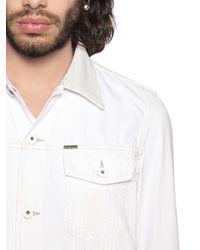 DIESEL | White Denim Jacket W/ Nappa Leather Collar for Men | Lyst