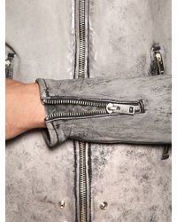 DIESEL - Gray Heavy Washed Nappa Leather Jacket for Men - Lyst
