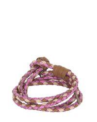 Bottega Veneta | Brown Double Intrecciato Leather Bracelet | Lyst