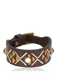 Valentino | Brown Primitive Circle Leather Bracelet | Lyst