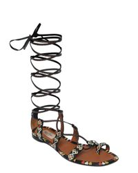Valentino | Black Primitive Print Leather Lace-up Sandals | Lyst