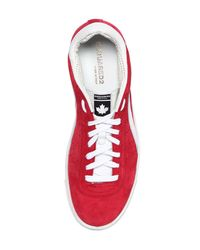 DSquared² - Red Suede & Leather Sneakers for Men - Lyst